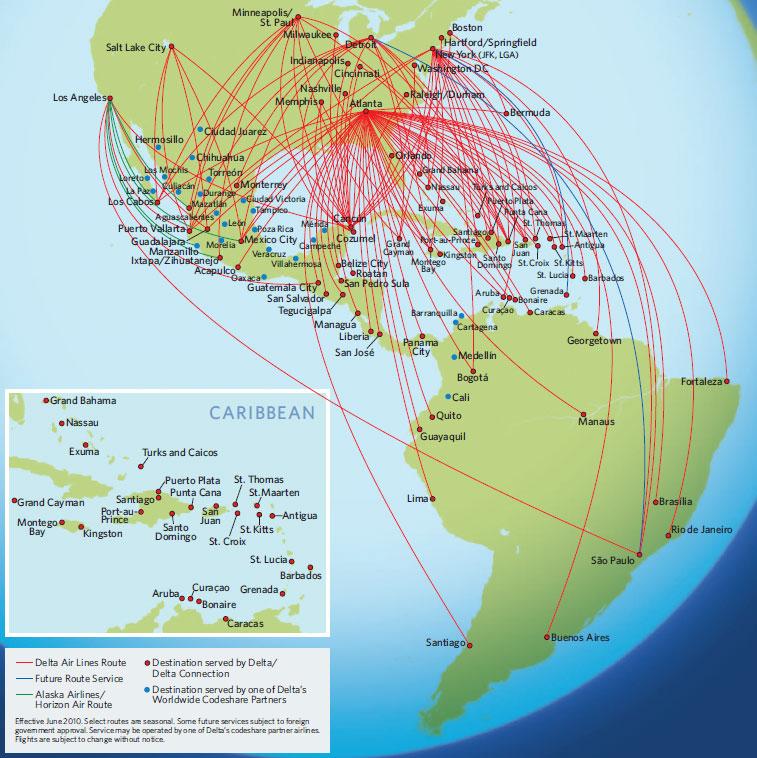 Mapa De Rutas Internacionales De Am 233 Rica Delta Airlines