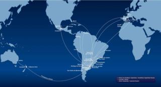 Mapa de rutas internacionales aerolíneas argentinas