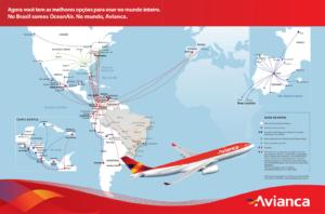 Mapa de rutas internacionales AVIANCA